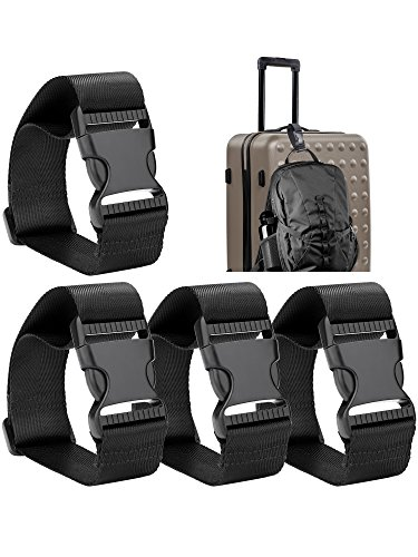 Frienda Add a Bag Luggage Strap Adjustable Suitcase Belt Straps Accessories for Connecting Luggage (Black-4 Pieces)