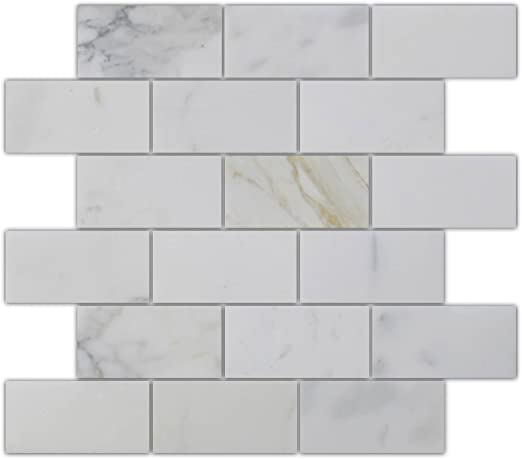 Two 2 x 4 Pieces Sample Swatch Calacatta Gold Italian Calcutta Marble 2 x 4 Subway Tiles Polished from Rocky Point Tile