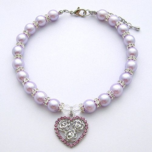 PETFAVORITES Crystal Heart and Rose Charm Dog Necklace Collar Jewelry with Bling Rhinestones Pearls for Pets Cats Small Dogs Girl Teacup Chihuahua Yorkie Clothes Costume Outfits(Purple, Size: (Costumes For Cheap)