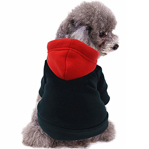 Dog Hoodie - Puppy Cloth Polyester/Cotton Sweatshirt for Tiny and Small Dogs Pets, Black & Red, M (Dog Tracksuit)