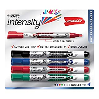 BIC Magic Marker Dry-Erase Markers, Pocket Style, Bullet Point, Assorted, 4-Pack
