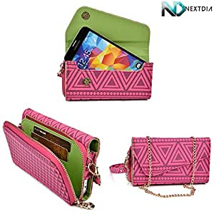 Womens Wristlet Wallet ZTE Orbit |Universal fit with Credit Card Slots and Removable Handstrap| Tribal Theme : Pink, Maroon, Olive Green