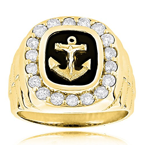 Luxurman Black Natural Onyx And Real 1.5 Ctw Diamond 14K Anchor Vintage Ring For Him (Yellow Gold Size 12) (Vintage Mens Diamond Rings)