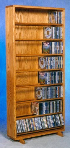24.25 in. Dowel CD Storage Tower in Honey Oak Finish (Honey Oak)
