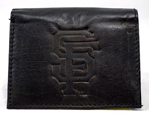 Giants Rico Tri Fold Wallet - MLB San Francisco Giants Tri-Fold Leather Wallet, Black