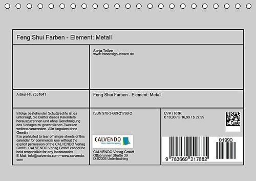 Feng Shui Farben Element Metall Tischkalender 2018 Din A5 Quer