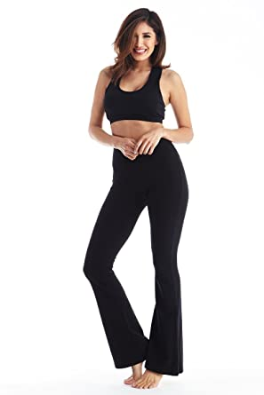 680d119636d7d2 Viosi Women s Premium 250gsm Fold Over Cotton Spandex Lounge Yoga Pants   Black Black