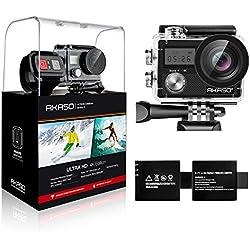 AKASO Brave 4 4K 20MP WiFi Action Camera Sony Sensor Ultra HD EIS 30m Underwater Waterproof Camera Remote Underwater Camcorder 2 Batteries Helmet Accessories Kit