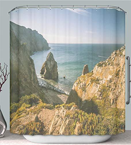 Shower Curtain A Beautiful Landscape on Cabo da Roca in Portugal Multi-Color,Fabric Shower Curtain Decoration Bathtub Bathroom Accessories with Hook