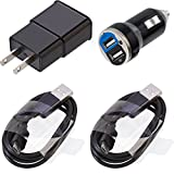 For LG G Vista 2Black Home Wall & Car Charger with 6ft Data Cables Value Pack Set of 2
