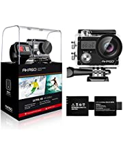 AKASO Action Kamera Brave 4 4K 20MP WiFi Action Cam Ultra HD mit Bildstabilisierung Bild Zoom 30m Unterwasserkamera mit Fernbedienung 2 Akkus und Zubehör Kit-Silber
