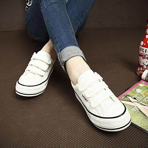 Canvas Hook Low Platform Top Womens Fashion Low Loop Toe Sneakers Round And White Easemax 1tZwEq1