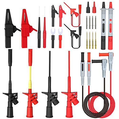 Minigrabber Test Hooks and Wire Piercing Test Probes Alligator Clips Goupchn Silicone Multimeter Test Leads Kit 25PCS with Replaceable Gold-Plated Precision Sharp Probe Set