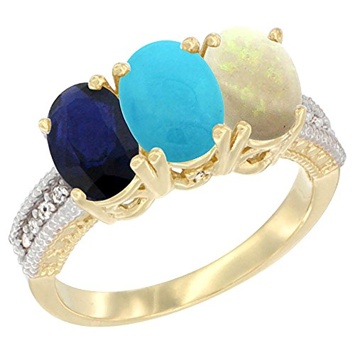 10K Yellow Gold Diamond Natural Blue Sapphire, Turquoise & Opal Ring 3-Stone 7x5 mm Oval, size 10