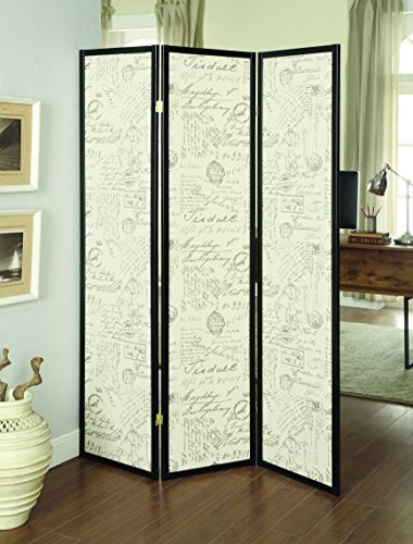 Espresso Wood Finish 3 Panel French Script Folding Screen by