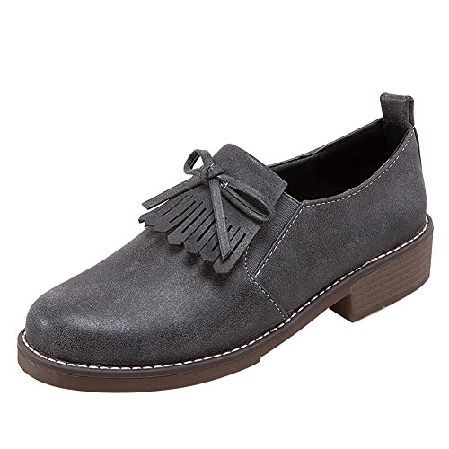 Carolbar Women's Casual Concise Bow Mid Heel Tassels Loafer Shoes Grey