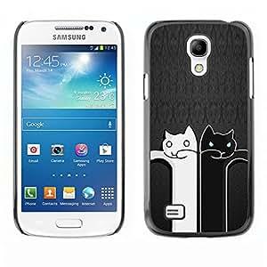 Vortex Accessory Carcasa Protectora Para SAMSUNG GALAXY S4 MINI i9190 (MINI VERSION) - Black And White Cat Grey Minimalist Cute -