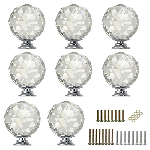 Sumnacon 8 Pcs 1.6 Inch Clear Crystal Glass Door Knobs, Round Diamond Wardrobe Doorknob/Crystal Drawer Knobs/Cabinet Cupboard Pull Knobs/Door Pull Handle with Screws with 3 Kinds Screws (Knobs Round Pull Glass)