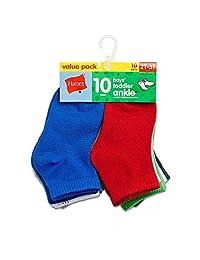 Hanes Boys` Toddler Ankle Socks, 27/10, 2T-3T, Assorted