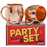 Coppermania Party Set Of 2 Moscow Mule Handcrafted 100% Copper Hammered 16oz Mugs & 3 Fun & Exciting Party Face Mats, Perfect Party Set & Gift Idea