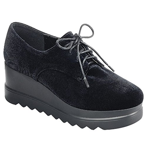 Wedge Black Sawtooth Plarform Oxford Shoe Sole FL58 Women's Lace FOREVER up nSOC0qq