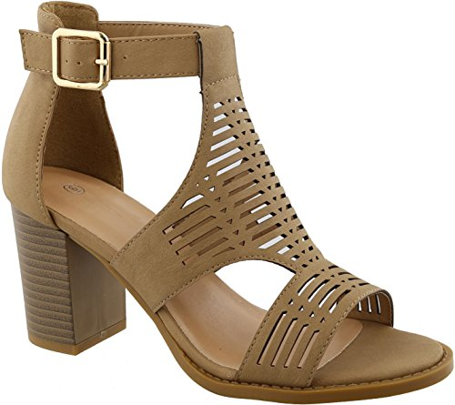 BDshoes Gayle Cute Fun Comfortable Cage Caged Strappy Casual Stacked High Heel Sandal for Women Ladies Teens (Size 7, Tan Heel)
