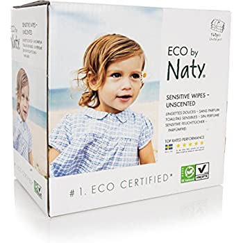 Naty by Nature Babycare Eco Baby Wipes, Unscented, 3 Counts of 56 (168 wipes)