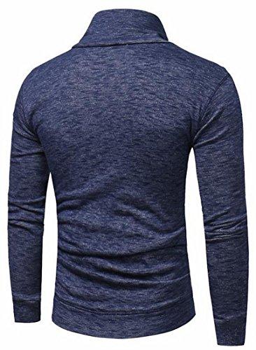 Il Navy Tasto Camicia Uomo Lunghe Maniche Da Con Ad Ttyllmao Collo Blu A Anello awqpvAvCx