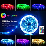 #LightningDeal LED Strip Lights 16.4ft, RGB 5050 LEDs Color Changing Kit with 24key Remote Control and Power Supply, Mood Lighting Led Strips for Home Kitchen Christmas Indoor Decoration