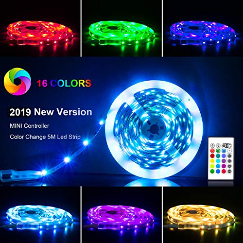 LED Strip Lights 16.4ft, RGB 5050 LEDs Color Changing Kit with 24key Remote Control and Power Supply, Mood Lighting Led Strips for Home Kitchen Christmas Indoor Decoration -