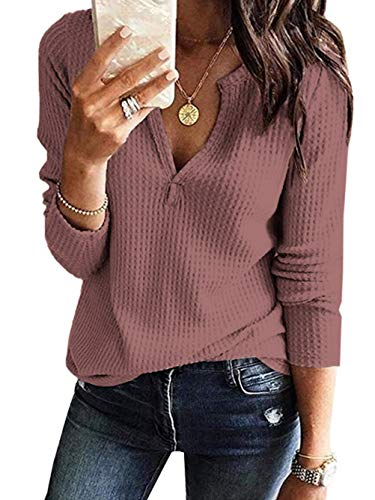 Famulily Womens Long Sleeve Waffle Thermal V Neck Shirt Relaxed Comfy Tops Rust Red Small