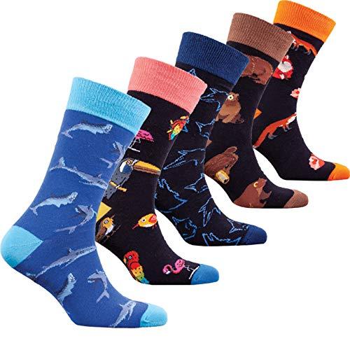 Socks n Socks-Men 5 pk Colorful Cotton Novelty Wild Animals Hunter Sock Gift - Box Gift Colorful