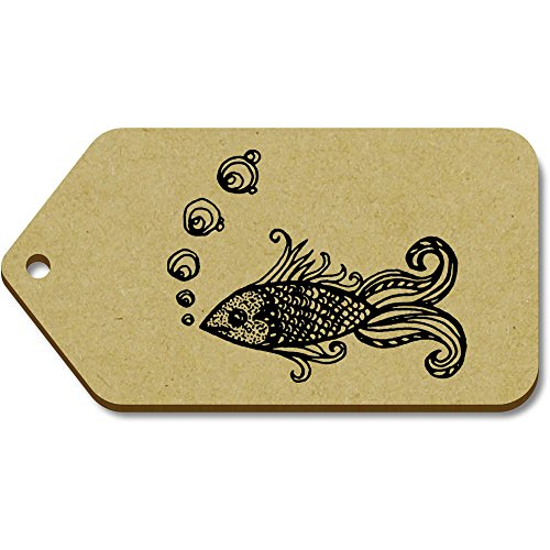 Grande Etiquetas equipaje Regalo Azeeda 'pescado' tg00013158 10 X 51mm 99mm w8gpUBEq