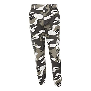 48fefae0a0be0 OWMEOT Women's Camouflaged Camo Cargo Trousers Cool Pants Military Army  Casual Pants with Multi-Pockets