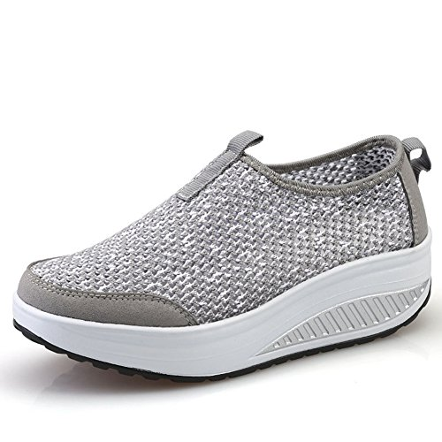 CYBLING Breathable Platform Wedge Exercise Athletic Shoes For Women Outdoor Comfort Sport Sneaker Grey GQvZynCeJr