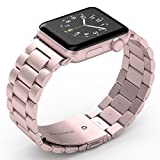 Apple Watch Band 38mm, Biaoge Stainless Steel Replacement Classic Metal Wristband for Apple Watch Series 3 Series 2 Series 1 (38mm, Rose Gold)