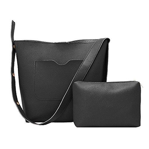 Shoulder Fashion Women Black Handbags Messenger Set PU Widewing Clutch Bags 2pcs Composite 6q8A1