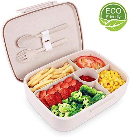 BRIGENIUS Bento Box Auslaufsichere Brotzeitbox Weizenstroh Fünf Separate Kammern Lunchbox für Kinder Halten Essen Frisch Brotdose für Kindergarten Schule Grundschulkinder Frühstücksbox