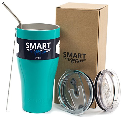 - Smart Coolers - Ultra-Tough Double Wall Premium Insulated Cup Ultimate Set - Compare to Yeti or RTIC - Leak-Proof + Sliding Lid + Straw + Brush + Gift Box - Turquoise ()