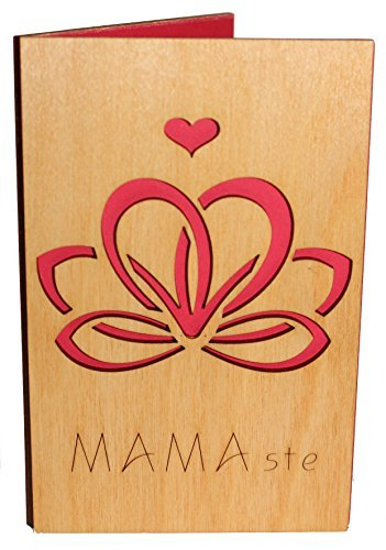 Handmade Real Wood Mamaste Greeting Card Best Happy Birthday Gift For Your Mom Mother Godmother Stepmom