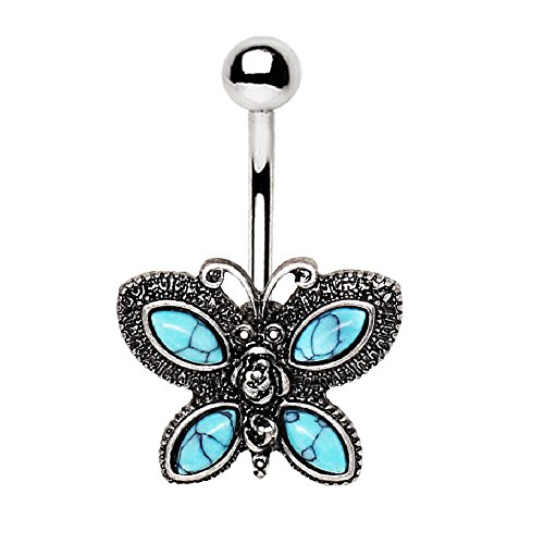 Ring Black Belly Butterfly (Antique Turquoise Butterfly Belly Button Ring in 316L Stainless Steel)