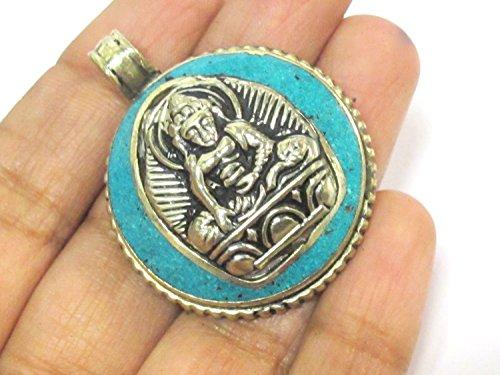 1 Pendant - Tibetan seated meditating Buddha double dorje symbol reversible pendant with turquoise inlay - PM610C