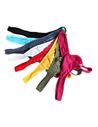 SiikWorld Men's Ice Silk Thong Low Rise Underwear Pack of 8