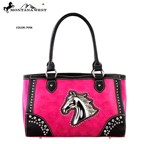 Montana West MW249-8394 Horse Collection Handbag-Hot Pink