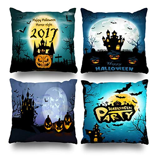 Set of 4 Decorativepillows Case Throw Pillows Covers for Couch/Bed 18 x 18 inch,Pumpkins Happy Halloween Horror Night Modern Castle Home Sofa Cushion Cover Pillowcase Gift Bed Living Home