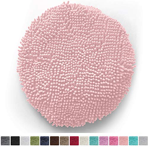 """Gorilla Grip Original Shag Chenille Bath Rug Toilet Lid Cover, 19.5"""" x 18.5"""" Large Size, Machine Washable, Ultra Soft Plush Fabric Covers, Fits Most Size Toilet Lids for Bathroom (Light Pink)"""