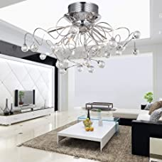 LOCO® Modern Crystal chandelier with 11 Lights Chrom, Flush Mount Chandeliers Modern Ceiling Light Fixture for Hallway, Entry, Bedroom, Living Room with Bulb Included