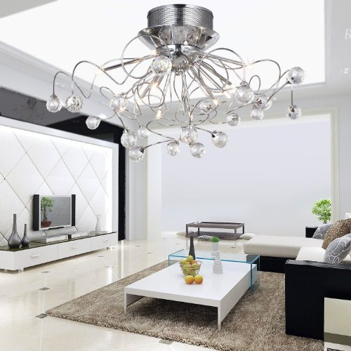 LOCO® Modern Crystal Chandelier With 11 Lights Chrom, Flush Mount  Chandeliers Modern Ceiling Light Fixture For Hallway, Entry, Bedroom,  Living Room With ...