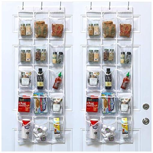 Cabinet Door Organizers 2 Pack – SimpleHouseware Crystal Clear Over the Door Hanging Pantry Organizer (52″ x 18″) cabinet door organizers