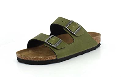 4ab7f0501331 Birkenstock Women s Arizona Vegan Sandal Olive Pull Up Birko Flor Size 36  ...
